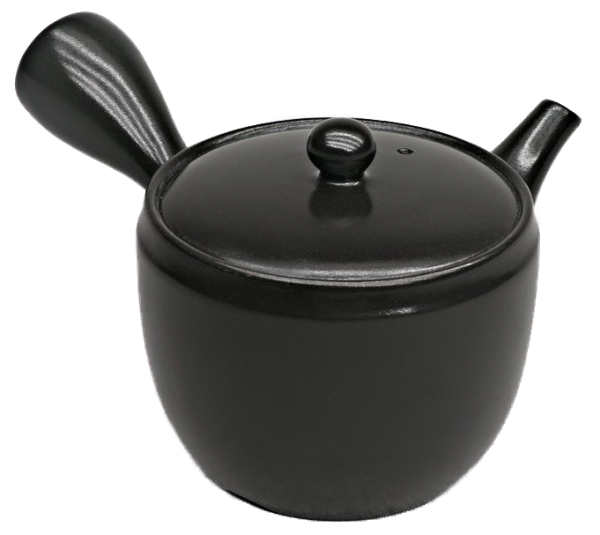 Kyusu teapot, black glaze, 390ml