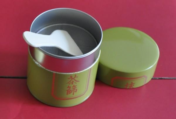 Matcha tin and sieve, green