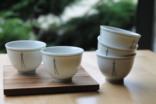5er-Set Teeschale, weiß mit Muster, 70 ml