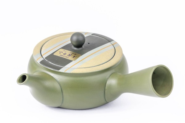 Kyusu teapot, green with striped lid