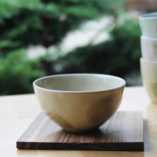 Hellgelbe Teeschale mit Blättern, 200ml