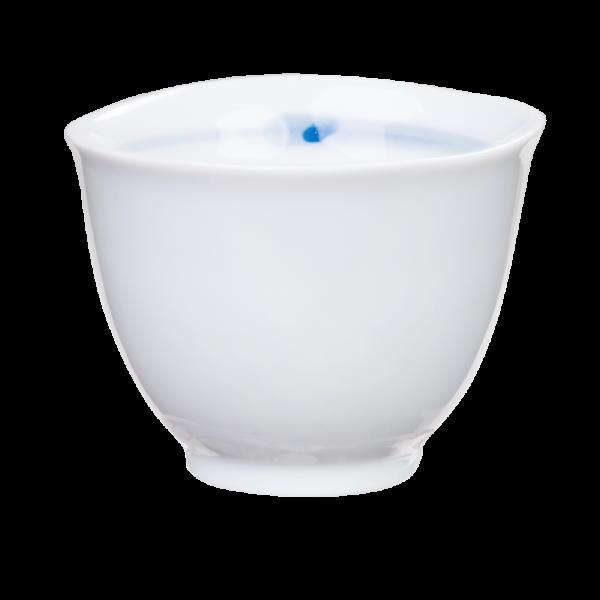 Teacup, white with blue inner rim, 120ml